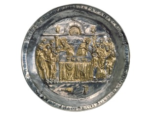 Eucharisztia a Riha paténán (ezüst, aranyozással) 568-578 között