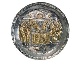 Eukharisztia a Riha paténán (ezüst, aranyozással) 568-578 között