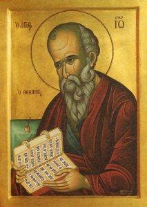 Teológus Szent Jáőos ikon. Forrás: http://www.saintjohnthetheologian.org/_images/St%20John005.jpg