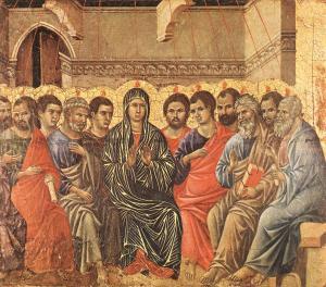 Pünkösd - Duccio di Buoninsegna,  1308-11. Museo dell'Opera del Duomo, Siena