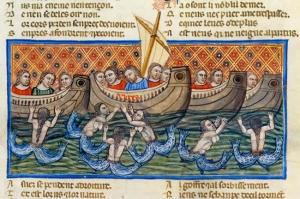 Krisztus és a szirének  Benoit de Saint-Maure Trója-regényének (1155-1160) egyik miniaturája (1340-1350)