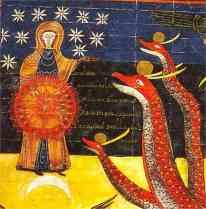 A Napba öltözött asszony - Beatus (kb. 730-800) Jelenések kommentárjának illusztrációja
