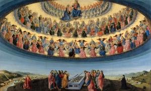 Francesco di Giovanni Botticini (1446-1498): Mária mennybevétele a három mennyei hierarchiával