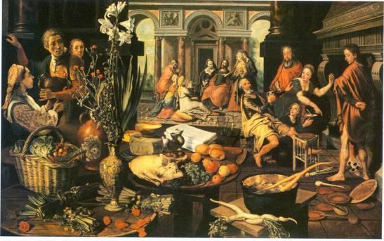 Pieter Aertsen (1508-1575), Krisztus Márta és Mária házában. 1553, Forrás: Museum Boijmans Van Beuningen collection online