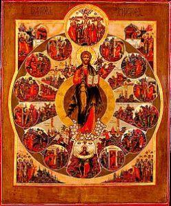 Jézus életének eseményei középkori orosz ikonon. Forrás: http://en.wikipedia.org/wiki/File:Church_of_Christ_icon.jpg