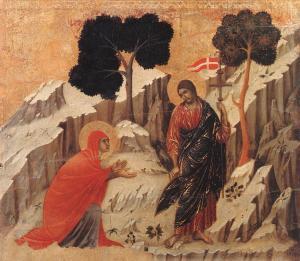 """""""Noli me tangere"""" - Duccio di Buoninsegna, 1308-11"""