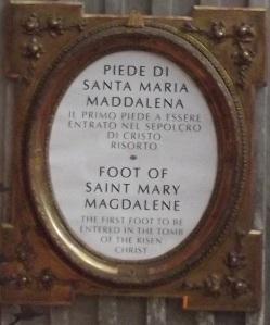 Piede di santa Maria Maddalena_felirat