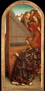 Zenélő angyalok - részlet a genti oltárképről. Van Eyck testvérek, 1432