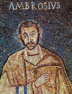 Szent Ambrus legkorábbi ismert portréja. Milánó, Szent Ambrus bazilika, 5. sz.