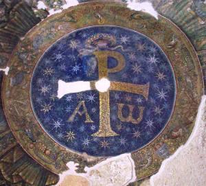 Krisztogram a San Giovanni in Fonte keresztelőkápolna boltozatán, Nápoly