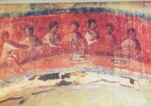 Fractio panis (Kenyértörés) - Priscilla katakomba, Capella Graeca, Róma