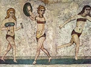Sportoló lányok. 4. századi mozaik. Forrás: http://ancientolympics.arts.kuleuven.be/picEN/slides/P0147.jpg.html