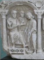 Jézus megmossa a húzódozó Péter lábát. Márványszarkofág részlete, 4. század vége, Arles.
